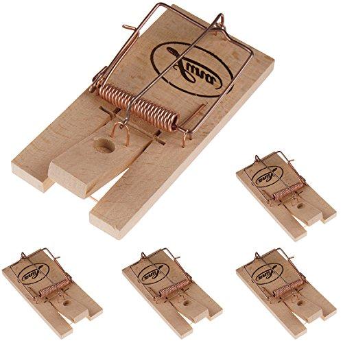 Powerpreise24 Rattenfalle - Klassische Schlagfalle als zuverlässige Hilfe vor Schädlingen in Haus und Garten - SPARSETS, Menge:5er Set