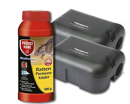 Köder-Discount Sparset Rattenbekämpfung - 2 Köderboxen Plus 500g Rodicum Rattengift